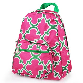 Zodaca Pink Quatrefoil Bright Stylish Kids Small Backpack Outdoor Shoulder School Zipper Bag with Adjustable Strap
