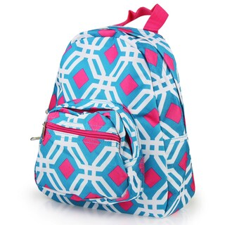 Zodaca Blue Graphic Bright Stylish Kids Small Backpack Outdoor Shoulder School Zipper Bag with Adjustable Strap