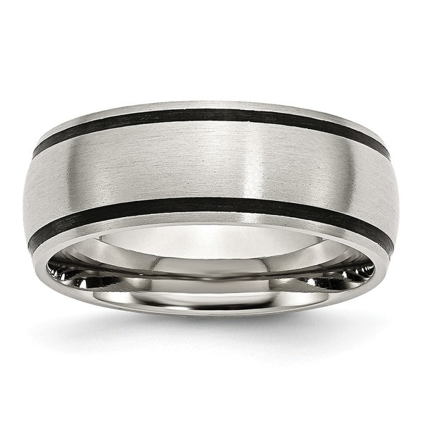 Chisel Stainless Steel Black Rubber 8mm Brushed Band. Opens flyout.