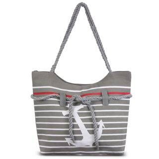 Zodaca Grey Anchor Women Handbag Ladies Large Rope Shoulder Tote Purse Messenger Bag