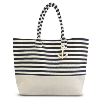 Zodaca Black/ White Stripes Women Handbag Ladies Large Shoulder Tote Purse Messenger Bag