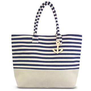 Zodaca Navy/ White Stripes Women Handbag Ladies Large Shoulder Tote Purse Messenger Bag