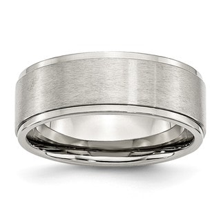Link to Chisel Stainless Steel Ridged Edge 8mm Brushed and Polished Band Similar Items in Rings