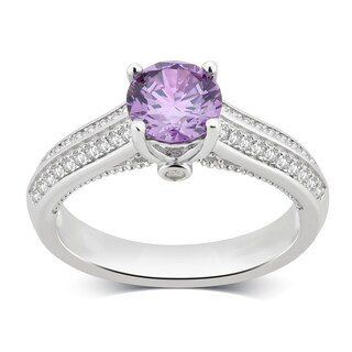 Divina Sterling Silver Created Amethyst and White Saphhire Gemstone Ring. (3 options available)