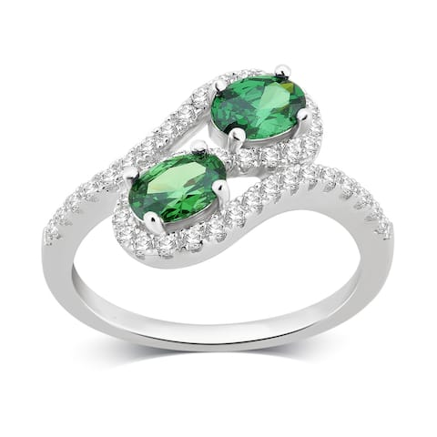 Divina Sterling Silver Created Emerald and White Sapphire Two stone Ring.