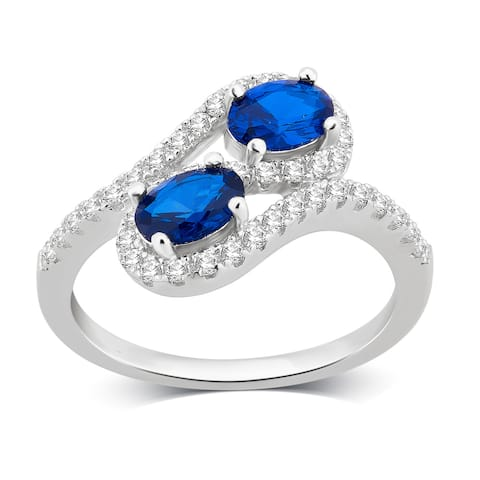 Divina Sterling Silver Created Blue and White Sapphire Two stone Ring.