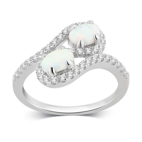Divina Sterling Silver Created Opal and White Sapphire Two stone Ring.