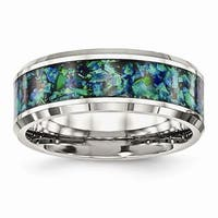 Stainless Steel Polished with Blue Imitation Opal 8mm Men's Ring
