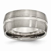 Titanium Grooved 10mm Brushed and Polished Band - Black