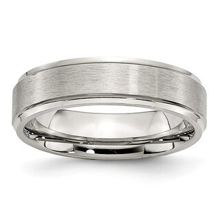 Stainless Steel Grooved Edge 6mm Brushed and Polished Band