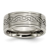 Titanium 9mm Scroll Design Brushed and Polished Band - Black