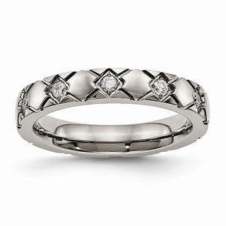 Titanium Polished Criss Cross Grooved CZ Ring - Black