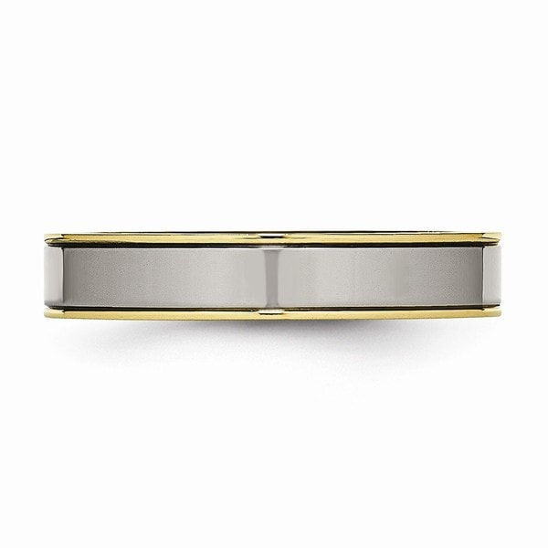 Titanium Yellow IP-plated Grooved 6mm Polished Band Size 10.5 Length Width 6