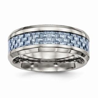 Titanium Polished Blue Carbon Fiber Inlay Ring - Black