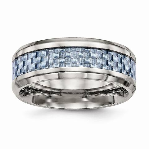 Chisel Titanium Polished Blue Carbon Fiber Inlay Ring - Black