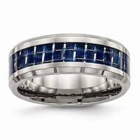 Titanium Polished With Blue Carbon Fiber Inlay Band - Black
