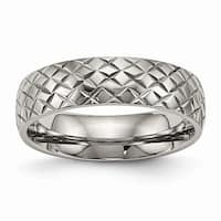 Titanium Polished Textured Ring - Black