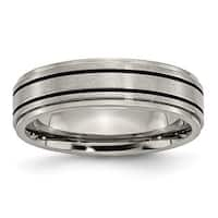 Titanium Enameled Flat 6mm Satin & Polished Band - Black