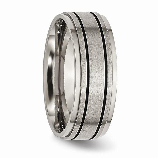 Bridal Titanium Enameled Grooved Flat 8mm Polished Band