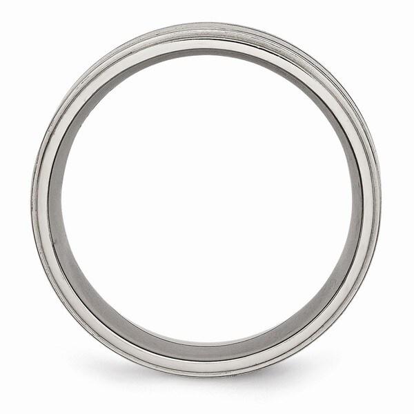 Titanium Enameled Flat 8mm Satin and Polished Band