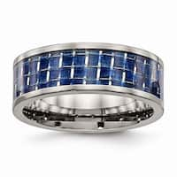 Titanium Polished With Blue Carbon Fiber Inlay Band - Black