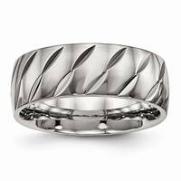 Titanium Polished Diamond Cut Ring - Black
