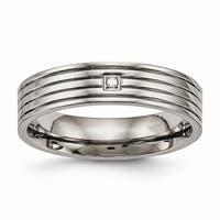 Titanium Polished Grooved Comfort Back Ring - Black