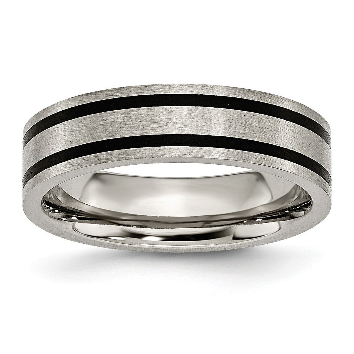Jewelry Stores Network Mens Titanium Enameled Flat 6mm Satin and Polished Wedding Band Ring