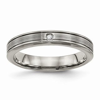 Titanium Polished Grooved Comfort Back CZ Ring - Black