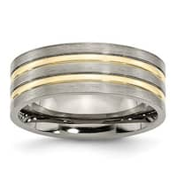 Titanium Grooved Yellow IP-plated 8mm Brushed & Polished Band - Black