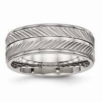 Titanium Polished Grooved Ring - Black