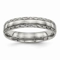 Titanium Polished Grooved Criss Cross Design Ring - Black