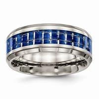 Titanium Polished Blue/White Carbon Fiber Inlay Ring - Black