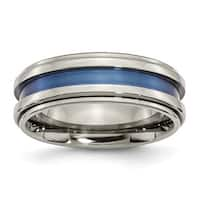 Titanium with Blue Triple Groove 8mm Polished Band - Black