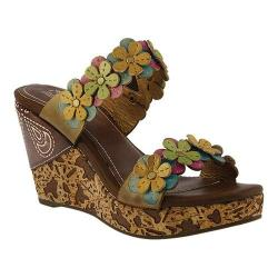 Women's L'Artiste by Spring Step Aura Wedge Sandal Yellow Multi Leather