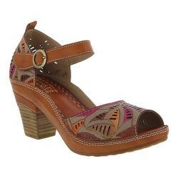 Women's L'Artiste by Spring Step Avelle Quarter Strap Sandal Camel Multi  Leather