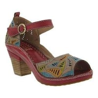 Women's L'Artiste by Spring Step Avelle Quarter Strap Sandal Red Multi Leather