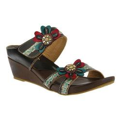 Women's L'Artiste by Spring Step Bacall Wedge Slide Dark Brown Leather