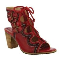 Women's L'Artiste by Spring Step Alejandra Ghille Lace Sandal Red Leather