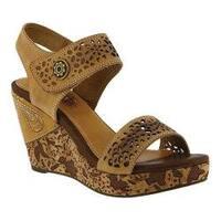 Women's L'Artiste by Spring Step Allura Wedge Sandal Beige Leather