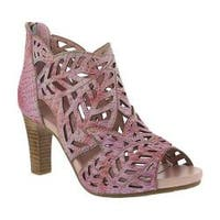Women's L'Artiste by Spring Step Amora Open Toe Bootie Pink Leather