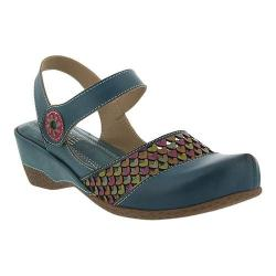 Women's L'Artiste by Spring Step Amour Closed Toe Sandal Teal Leather