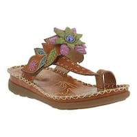 Women's L'Artiste by Spring Step Berry Toe Loop Sandal Camel Leather