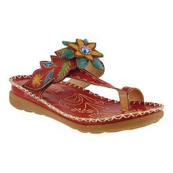 Women's L'Artiste by Spring Step Berry Toe Loop Sandal Red Leather