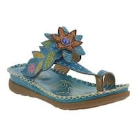 Women's L'Artiste by Spring Step Berry Toe Loop Sandal Turquoise Leather