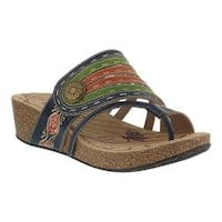 Women's L'Artiste by Spring Step Claudia Thong Slide Navy Leather