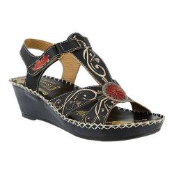 Women's L'Artiste by Spring Step Dinora Wedge Sandal Black Multi Leather