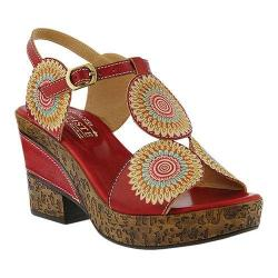 Women's L'Artiste by Spring Step Hydrangea Heeled Sandal Red Leather