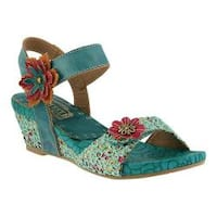 Women's L'Artiste by Spring Step Laisis Quarter Strap Sandal Turquoise Multi Leather