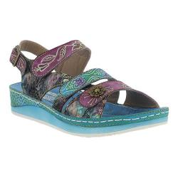 Women's L'Artiste by Spring Step Sumacah Strappy Slingback Aqua Multi Leather